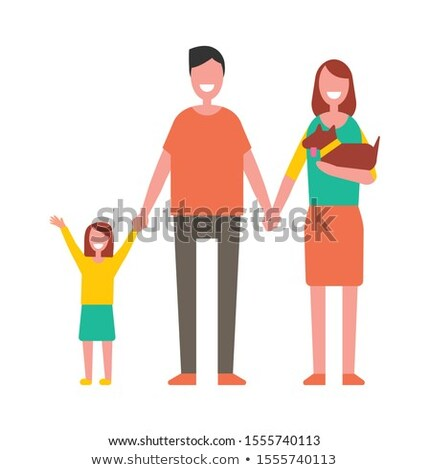 Family with Dauhter and Dog Hold Hands Isolated Stock photo © robuart