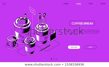 Coffee break - line design style isometric web banner Stock photo © Decorwithme