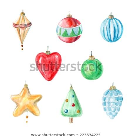 陽気な クリスマス 水彩画 カード ベクトル 赤 ストックフォト © frimufilms