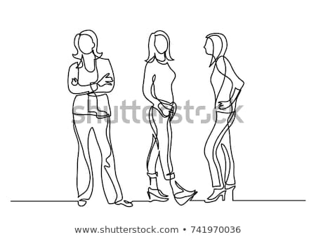 group of happy diverse women standing in line Stock photo © dolgachov