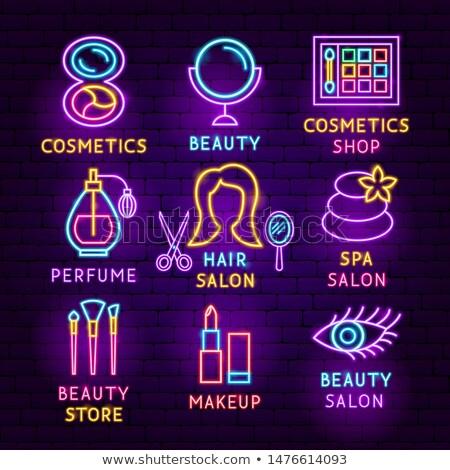 Cosmetici neon etichetta set bellezza promozione Foto d'archivio © Anna_leni