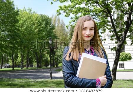 Iskolás lány fehér póló szett rövid kabátujj Stock fotó © toyotoyo