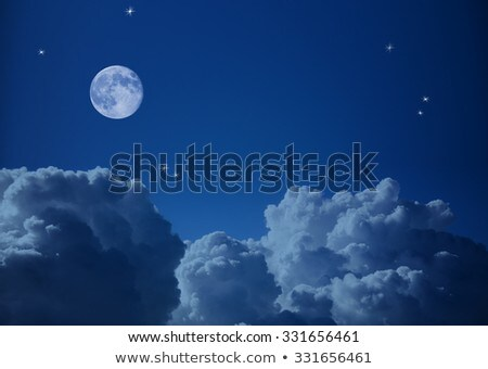 Airplane In The Night Sky And Moon Photo stock © Taiga