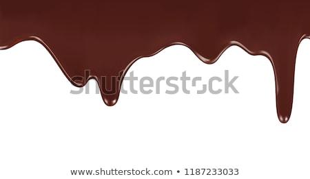 Olvad csokoládé darab étcsokoládé fehér hát Stock fotó © prill