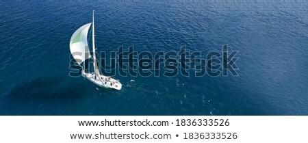 Beautiful blue ocean with white sailboat near horizon Stock photo © jarenwicklund