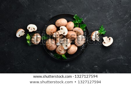 Stock photo: dried shiitake mushrooms on old wooden table