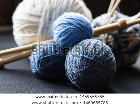 Close up knit wool scarf on wood table Stock photo © nalinratphi