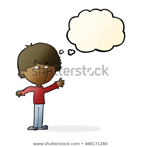 cartoon worried man reaching out with thought bubble stock photo © lineartestpilot