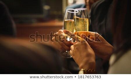 Stockfoto: Groep · vrienden · dranken · partij · houten