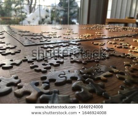 Puzzle fa asztal kirakó darabok üveg háttér tanulás Stock fotó © fuzzbones0