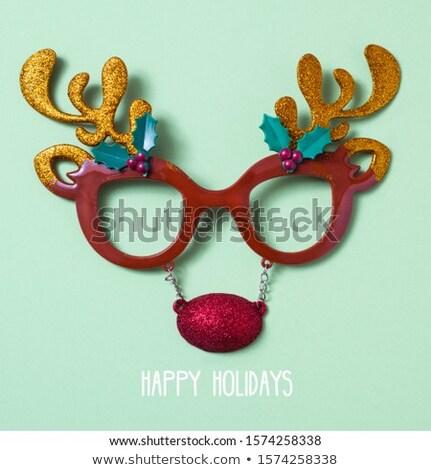 Ren geyiği gözlük metin mutlu tatil biçim Stok fotoğraf © nito