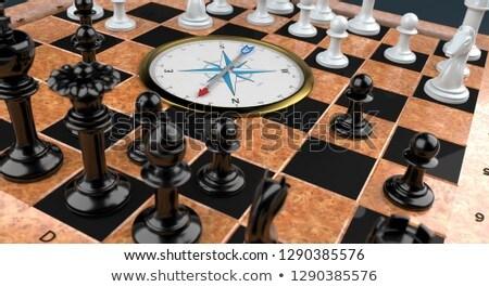 Satranç tahtası pusula altın ahşap 3d illustration spor Stok fotoğraf © limbi007