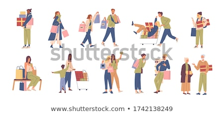 Shopping Female Shopaholic Woman with Bags Vector Stock photo © robuart