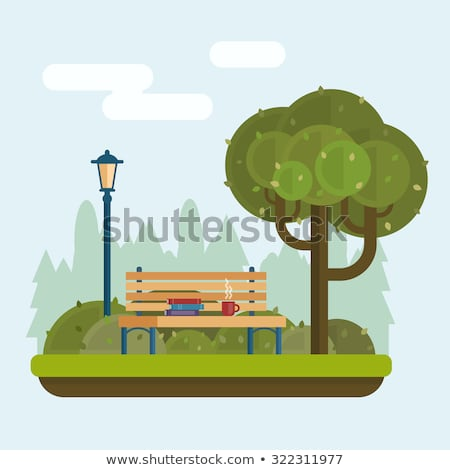 Autumn City Park with Benches and Streetlight Stock photo © robuart