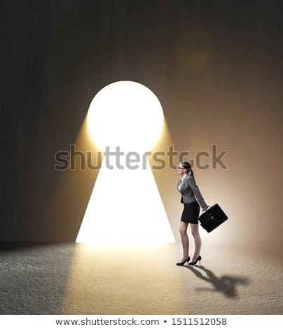 üzletasszony kulcsok fehér nő ház munka Stock fotó © vladacanon