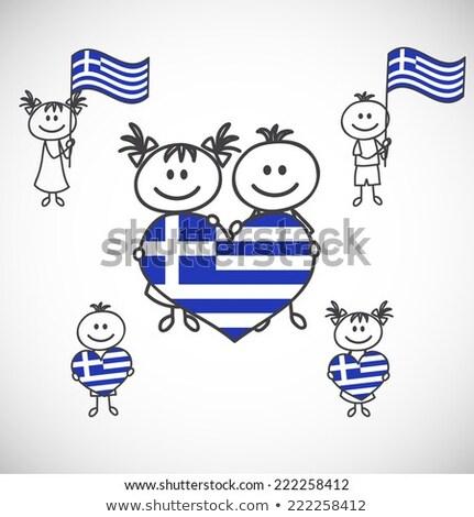 Aranyos lány tart zászló Görögország illusztráció Stock fotó © colematt