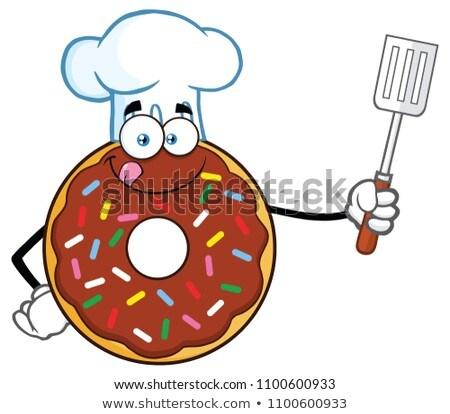 Chef donut spatel geïsoleerd Stockfoto © hittoon