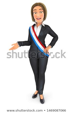 3D üzletasszony visel francia ablakkeret illusztráció Stock fotó © 3dmask