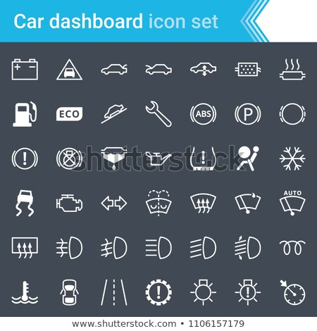 Modern, stroked car dashboard, indicators and service maintenance icons isolated on dark background. Stock photo © ukasz_hampel