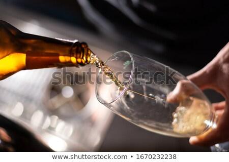 Conhaque garrafa vidro madeira bar Foto stock © inxti
