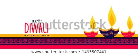decorative happy diwali festival card design with three diya Stock photo © SArts