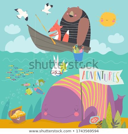 Aranyos nyúl lebeg csónak rajzolt állat karakter Stock fotó © amaomam