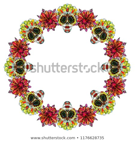 Day of the dead banner colorful watercolor skull Stock photo © cienpies