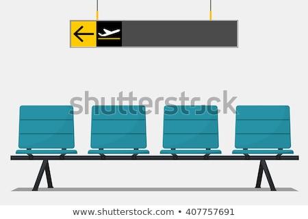 Luchthaven wachten teken Blauw ontwerp Stockfoto © robuart
