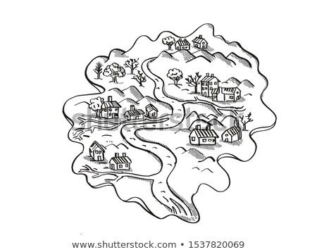 Isola fiume case vintage fantasia mappa Foto d'archivio © patrimonio