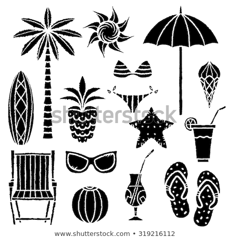 Dek stoel paraplu slippers inkt vector Stockfoto © pikepicture