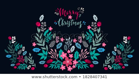 merry and bright winter holidays embroidery banner stock photo © robuart