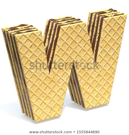 Waffles font with chocolate cream filling Letter W 3D Stock photo © djmilic