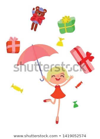 Boldog karakter esernyő tánc eső esik az eső Stock fotó © robuart