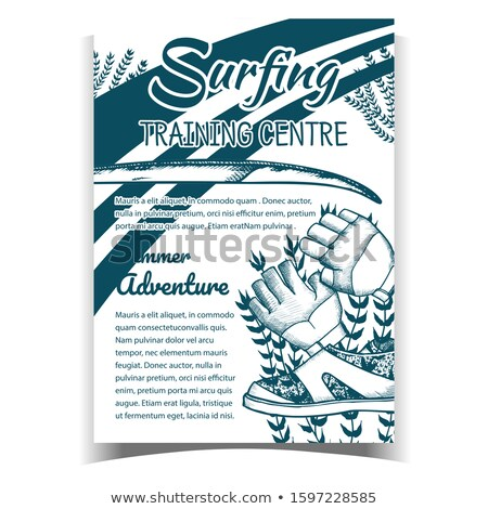 Gloves, Surfing Shoes And Seaweed Banner Vector Stock photo © pikepicture