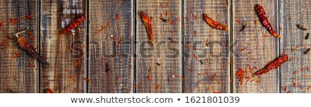 Banner of Spices near chili on wooden background. Various of spices powder selection. Stock photo © Illia