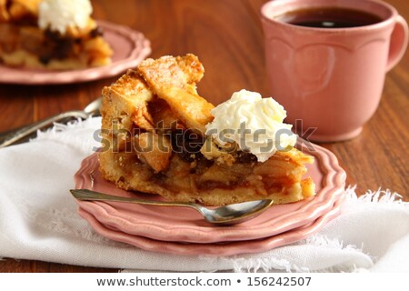 Slice of homemade dutch apple cake, appeltaart Stock photo © Melnyk