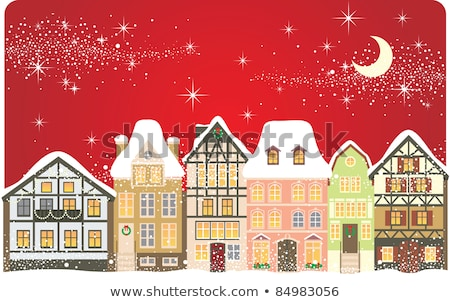 Row of Houses in Winter, Village or Town Vector Stock photo © robuart