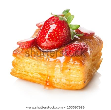 Frissen sült édes sütemény csokoládé croissantok Stock fotó © Melnyk
