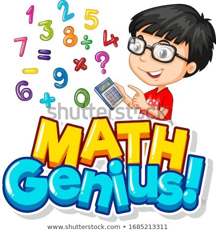 Carattere design math genio ragazzo numeri Foto d'archivio © bluering