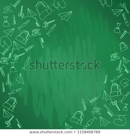 Ayarlamak okul malzemeleri yeşil tebeşir tahta simgeler Stok fotoğraf © ShustrikS