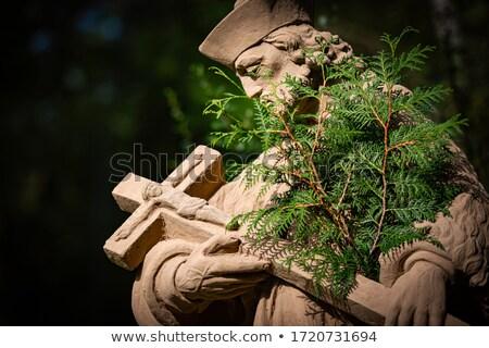 Standbeeld priester stad park slechte Duitsland Stockfoto © kyolshin
