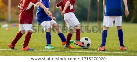 Children practicing football on grass lawn. Elementary age kids  Stock photo © matimix