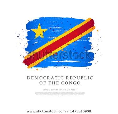 Congo banderą strony biały podpisania wolności Zdjęcia stock © butenkow