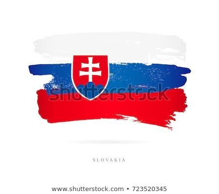 Szlovákia zászló fehér háttér felirat utazás Stock fotó © butenkow