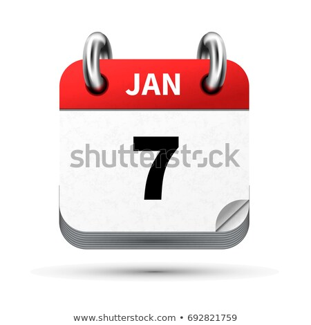 Bright realistic icon of calendar with 7 january date isolated on white Stock photo © evgeny89