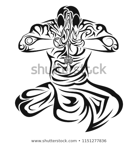 Buddhism religion simple black icon Stock photo © evgeny89