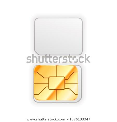 Conjunto nano cartão telefone dourado Foto stock © evgeny89
