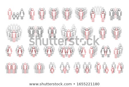 Large set of different people outline silhouettes with important red highlight, simple icons isolate Stock photo © evgeny89