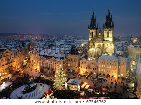 Prague minuit nuit pleine lune rivière bâtiment Photo stock © fyletto