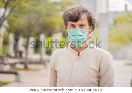 Homens higiênico máscara segurança ao ar livre Foto stock © galitskaya